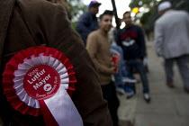 Mayor Lutfur Rahman, Tower Hamlets First supporters. Stepney Green polling station. European, local and Mayor Election, Tower Hamlets. East London. - Jess Hurd - 22-05-2014