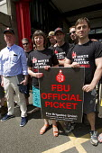 FBU 24 hour strike in a pensions dispute are visited by TUC Gen Sec Frances O'Grady and FBU Gen Sec Matt Wrack. Shoreditch Fire Station, East London - Jess Hurd - 12-06-2014