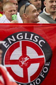 Englisc Resistance Arian Race swastika. South East Alliance, assorted far right coalition are stopped from marching through Cricklewood by anti fascists. The Alliance were protesting about a Muslim Br... - Jess Hurd - 14-06-2014