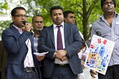 Tower Hamlets Deputy Mayor Oliur Rahman. Save Our Surgeries march against the closure of GP practices in East London. Tower Hamlets. - Jess Hurd - 05-07-2014