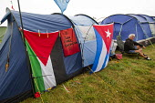 Tolpuddle Martyrs Festival - Sun, Cider, Socialism. Camping with Palestine and Cuba solidarity flags. Dorset. - Jess Hurd - 19-07-2014