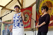 Dawn Primarolo MP and Kerry McCarthy MP. Tolpuddle Martyrs Festival. Dorset. - Jess Hurd - 2010s,2014,ACE,banner,banners,culture,Dawn,FEMALE,festival,FESTIVALS,Labour Party,member,member members,members,mp,mps,PEOPLE,person,persons,pol,political,politician,politicians,politics,SPEAKER,SPEAK