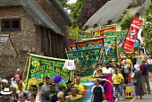 RMT banners RIP Bob Crow. Tolpuddle Martyrs Festival Procession. Dorset. - Jess Hurd - 2010s,2014,ACE,banner,banners,culture,festival,FESTIVALS,member,member members,members,PEOPLE,RMT,SWTUC,Trade Union,Trade Union,trade unions,Trades Union,Trades Union,trades unions,worker,workers