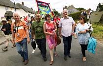 Nigel Costley SW TUC regional Sec, Mohammad Taj - TUC Pres, Unite and Frances O'Grady TUC. Tolpuddle Martyrs Festival. Dorset. - Jess Hurd - 19-07-2014