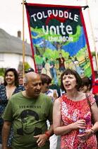 Mohammad Taj - TUC Pres, Unite and Frances O'Grady TUC. Tolpuddle Martyrs Festival. Dorset. - Jess Hurd - 19-07-2014