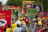 RMT banners RIP Bob Crow. Tolpuddle Martyrs Festival Procession. Dorset. - Jess Hurd - 2010s,2014,ACE,banner,banners,culture,festival,FESTIVALS,member,member members,members,NUT,PEOPLE,RMT,SWTUC,Trade Union,Trade Union,trade unions,Trades Union,Trades Union,trades unions,worker,workers