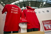 Never kissed a Tory merchandise. Labour Party Conference, Manchester. - Jess Hurd - 2010s,2014,baseball cap,brand,branding,caps,Conference,conferences,hat,hats,Labour Party,Party,pol,political,POLITICIAN,POLITICIANS,politics,T shirt,t shirts,tshirt,t-shirt,tshirts,t-shirts