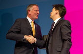 Ed Miliband MP and Bill De Blasio, Mayor of New York. Labour Party Conference, Manchester. - Jess Hurd - 24-09-2014