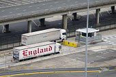 Trucks driving through customs, leaving the Eastern Docks. Port of Dover, Kent. - Jess Hurd - 27-09-2014