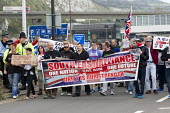 Far right groups gather at the Port of Dover in a protest against immigration and in support of truck drivers. Kent. - Jess Hurd - 27-09-2014