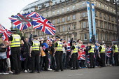 No Campaign, far right nationalists, taunt Yes Campaign in George Square the day after polling day in the Scottish Independence Referendum. Glasgow, Scotland - Jess Hurd - 19-09-2014
