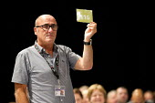 Alan Grey, Prospect, during a card vote. TUC, Liverpool. - Jess Hurd - 10-09-2014