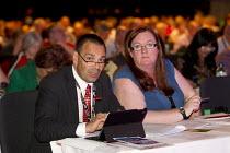 NAPO delegates Ian Lawrence and Yvonne Pattison. TUC, Liverpool. - Jess Hurd - 08-09-2014
