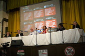 Panel: Mark Serwotka PCS, John Rees StW, Steve Turner Unite, Russell Brand, Ava Vidal and Natalie Bennett Green Party. The People's Assembly, People's Question Time. York Hall, Tower Hamlets. East Lon... - Jess Hurd - 09-10-2014