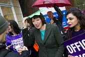 Frances O'Grady TUC Gen Sec joins NHS public service workers picket in a dispute over pay. St Pancras Hospital, Kings Cross, London. - Jess Hurd - 13-10-2014