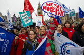 NHS public service workers in a strike over pay at St Thomas' Hospital march to Parliament Sq, London. - Jess Hurd - 13-10-2014