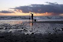 Sea fishing. Tywyn beach, Dysynni Valley. Snowdonia National Park. Wales. - Jess Hurd - 24-10-2014