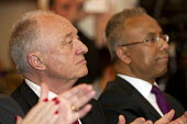 Lutfur Rahman and Ken Livingstone MP. Supporters gather to defend Lutfur Rahman, Tower Hamlets Mayor, against financial allegations and smears from Eric Pickles MP. East London. - Jess Hurd - 13-11-2014
