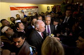 Ken Livingstone and George Galloway defend Lutfur Rahman. Supporters gather to defend Lutfur Rahman, Tower Hamlets Mayor, against financial allegations and smears from Eric Pickles MP. East London. - Jess Hurd - 13-11-2014