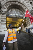 Interserve cleaners picket Waterloo Station in an RMT strike about pay, racism, bullying and union recognition. London. - Jess Hurd - 2010s,2014,anti racism,anti racist,bigotry,BME black,DISCRIMINATION,DISPUTE,DISPUTES,equal,equality,ethnic,ETHNICITY,flag flags,INDUSTRIAL DISPUTE,industrial relations,INEQUALITY,member,member members