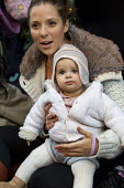 Carla Mastroianni breastfeeds her seven month old daughter, Sienna. Breastfeeding mothers gather outside Claridges Hotel in protest against the discrimination a mother faced whilst feeding her baby. M... - Jess Hurd - 06-12-2014