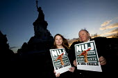Michelle Stanistreet, NUJ Gen Sec and Seamus Dooley, NUJ Irish Sec in solidarity with Charlie Hebdo, after the shooting of cartoonists in the attack on the Charlie Hebdo magazine offices. Place de la... - Jess Hurd - 11-01-2015