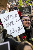 Not in my Name, Je suis Charlie Hebdo unity march after the shooting of cartoonists in the attack on the Charlie Hebdo magazine offices, Paris France - Jess Hurd - ,2010s,2015,activist,activists,arab,arabs,attack,attacking,BAME,BAMEs,Black,BME,bmes,CAMPAIGN,campaigner,campaigners,CAMPAIGNING,CAMPAIGNS,child,CHILDHOOD,children,cultural,DEMONSTRATING,Demonstration