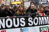 Michelle Stanistreet, NUJ Gen Sec , Journalist unions with a banner Nous Sommes Charlie lead the unity march after the shooting of cartoonists in the attack on the Charlie Hebdo magazine offices, Pari... - Jess Hurd - 11-01-2015