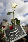 Liberty, Equality Fraternity, Je suis Charlie Hebdo unity march after the shooting of cartoonists in the attack on the Charlie Hebdo magazine offices, Paris. - Jess Hurd - 11-01-2015