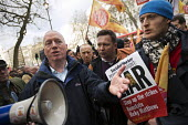 Matt Wrack, FBU joins striking firefighters rallying and protesting outside parliament in a long-running pensions dispute. Westminster. London. - Jess Hurd - 25-02-2015
