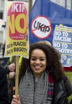 Stand up to UKIP protest outside UKIP Spring Conference. Margate, Kent. - Jess Hurd - ,2010s,2015,activist,activists,Anti Racism,anti racist,BAME,BAMEs,Black,BME,bmes,CAMPAIGN,campaigner,campaigners,CAMPAIGNING,CAMPAIGNS,DEMONSTRATING,Demonstration,DEMONSTRATIONS,diversity,ethnic,ethni