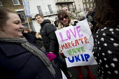 Stand up to UKIP protest outside UKIP Spring Conference. Margate, Kent. - Jess Hurd - ,2010s,2015,activist,activists,Anti Racism,anti racist,CAMPAIGN,campaigner,campaigners,CAMPAIGNING,CAMPAIGNS,DEMONSTRATING,Demonstration,DEMONSTRATIONS,eurosceptic,Euroscepticism,eurosceptics,FEMALE,M
