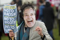 Nigel Farage mask. Stand up to UKIP protest outside UKIP Spring Conference. Margate, Kent. - Jess Hurd - ,2010s,2015,activist,activists,Anti Racism,anti racist,CAMPAIGN,campaigner,campaigners,CAMPAIGNING,CAMPAIGNS,DEMONSTRATING,Demonstration,DEMONSTRATIONS,eurosceptic,Euroscepticism,eurosceptics,Margate,