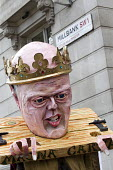 Chris Grayling MP puppet. Defend the Magna Carta. Justice Alliance, Relay for Rights along the Thames from Runnymede, the birthplace of the Magna Carta to the Global Law Summit. Against cuts to legal... - Jess Hurd - 23-02-2015