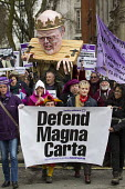Defend the Magna Carta. Justice Alliance, Relay for Rights along the Thames from Runnymede, the birthplace of the Magna Carta to the Global Law Summit. Against cuts to legal aid. London. - Jess Hurd - ,2010s,2015,activist,activists,Against,Austerity Cuts,birthplace,CAMPAIGN,campaigner,campaigners,CAMPAIGNING,CAMPAIGNS,cuts,DEMONSTRATING,Demonstration,DEMONSTRATIONS,effigy,FEMALE,people,person,perso