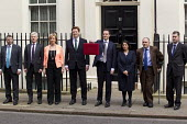 The Chancellor, George Osborne leaves 11 Downing Street to deliver his Budget to Parliament. With his Treasury team. (L-R) Gareth Johnson, Lord Deighton, Andrea Leadsom MP, Danny Alexander MP, The Cha... - Jess Hurd - 2010s,2015,Budget Box,coalition,ConDems Coalition,CONSERVATIVE,Conservative Party,conservatives,deliver,democrat,democrats,leaves,Lib Dem,Lib Dems,liberal,Liberal Democrat,Liberal Democrats,Liberal De