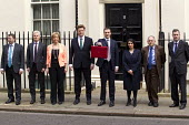 The Chancellor, George Osborne leaves 11 Downing Street to deliver his Budget to Parliament. With his Treasury team. (L-R) Gareth Johnson, Lord Deighton, Andrea Leadsom MP, Danny Alexander MP, The Cha... - Jess Hurd - ,2010s,2015,Budget Box,coalition,ConDems Coalition,CONSERVATIVE,Conservative Party,conservatives,deliver,democrat,democrats,leaves,Lib Dem,Lib Dems,liberal,Liberal Democrat,Liberal Democrats,Liberal D