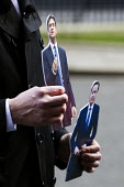 Cutouts of David Miliband MP and David Cameron PM. Budget day. Downing Street, Westminster, London. - Jess Hurd - 2010s,2015,CONSERVATIVE,Conservative Party,conservatives,cutout,cutouts,image,imagery,images,Labour Party,London,mp,mps,POL,political,politician,politicians,Politics,Street,Westminster
