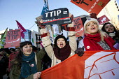 No TTIP campaigners lobby outside the European Commission, Brussels, Belgium. - Jess Hurd - 04-02-2015