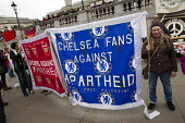 Chelsea fans against Apartheid, Football supporters pro Palestinian banner. Stand up to racism & fascism, national demonstration. London. - Jess Hurd - 21-03-2015