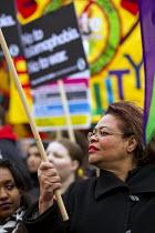 Gloria Mills, UNISON. Stand up to racism & fascism, national demonstration. London. - Jess Hurd - 2010s,2015,activist,activists,Anti Fascist,Anti Racism,anti racist,BAME,BAMEs,Black,BME,bmes,CAMPAIGN,campaigner,campaigners,CAMPAIGNING,CAMPAIGNS,DEMONSTRATING,Demonstration,DEMONSTRATIONS,diversity,