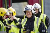 Sian Griffiths, White Watch Manager. Retiring after 30 years and one of the first LFB female firefighters. Road Traffic Accident training at Paddington Fire Station. London. - Jess Hurd - 2010s,2015,Accident,accidental,ACCIDENTS,adult,adults,boss,bosses,cities,city,commander,commanders,communicating,communication,conversation,conversations,Crew,dialogue,discourse,discuss,discusses,disc
