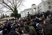 Anjem Choudary preaching, his group Islam4UK is urging Muslims not to vote in the election. Central London mosque. Regents Park. London. - Jess Hurd - 03-04-2015