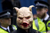 Pigs head mask. Supporters of Britain First and EDL gather to oppose Anjem Choudary, whose group hands out leaflets urging Muslims not to vote. Central London mosque. Regents Park. London. - Jess Hurd - 03-04-2015