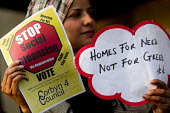 Homes for Need not for Greed. Social housing and anti-gentrification campaigners disrupt the annual Property Awards attended by luxury property development companies. Grovesnor Hotel, Park Lane. Londo... - Jess Hurd - 22-04-2015