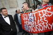 Social housing and anti-gentrification campaigners disrupt the annual Property Awards attended by luxury property development companies. Grovesnor Hotel, Park Lane. London. - Jess Hurd - 22-04-2015