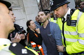 Protester is arrested for obstruction. Social housing and anti-gentrification campaigners disrupt the annual Property Awards attended by luxury property development companies. Grosvenor Hotel, Park La... - Jess Hurd - 22-04-2015