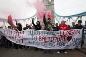 Class War solidarity with Baltimore - Black Lives Matter. May Day, International Workers Day protest. Tower Bridge. London. - Jess Hurd - 01-05-2015