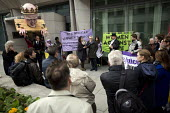Dean Roberts NAPO. Pre election farewell Party for Puppet Chris Grayling at the Ministry of Justice. Against the reorganisation of criminal defence, cuts to legal aid and the banning of books for pris... - Jess Hurd - 05-05-2015