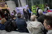 Farewell Party for Puppet Chris Grayling at the Ministry of Justice. Against the reorganisation of criminal defence Organised by the Justice Alliance. London. - Jess Hurd - 05-05-2015